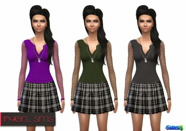 NY Girl Sims: Mesh Sleeve Skull Shirt