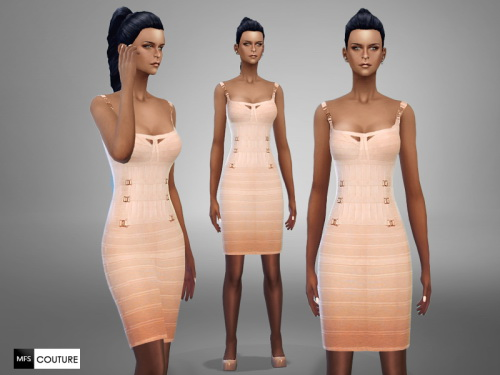 MissFortune Sims: Salmon Pencil Dress
