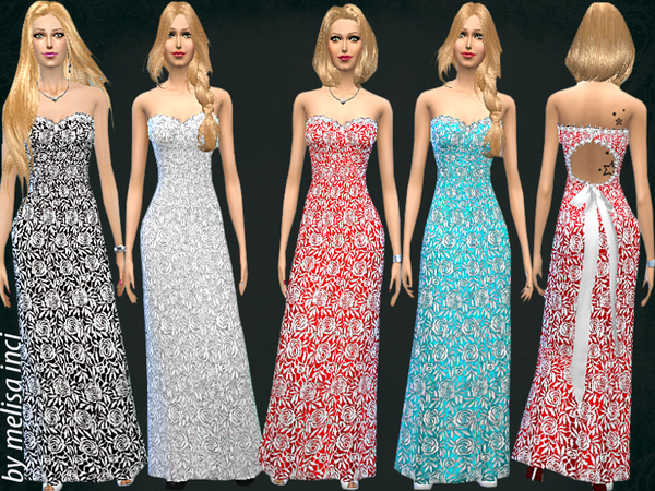 The Sims Resource: Lace Maxi Gown dress by MelisaInci