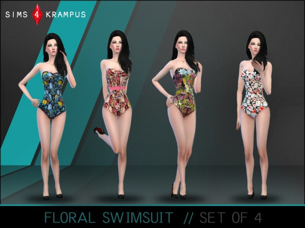 The Sims Resource: Stylish Floral Swimsuit Set of 4 by SIms 4 Krampus