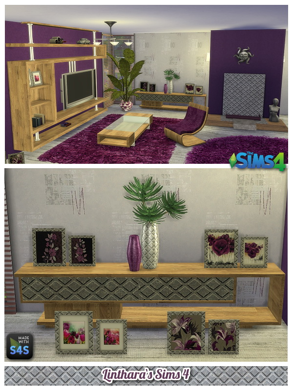 Lintharas Sims 4: Livingroom Violet