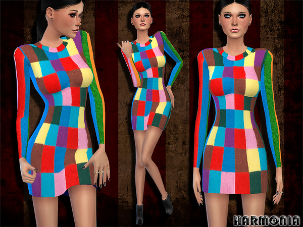 The Sims Resource: Mixed Print Cashmere Dress by Harmonia