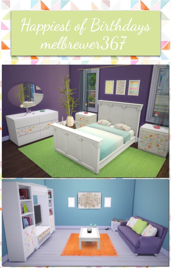 Saudade Sims: Barnish Bed, Simplicity Nightstand and Simple Symmetry Bookcase recolor