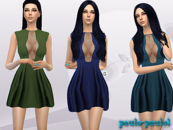 The Sims Resource: Grid dress by paulo paulol