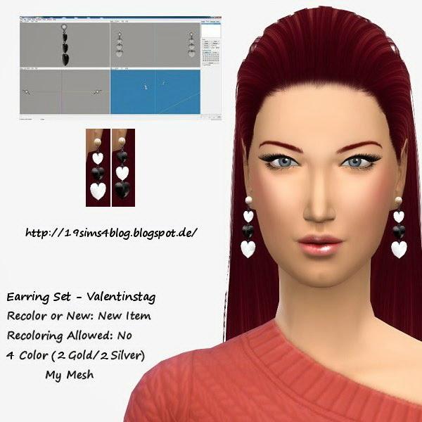 19 Sims 4 Blog: Earrings Valentine set 2