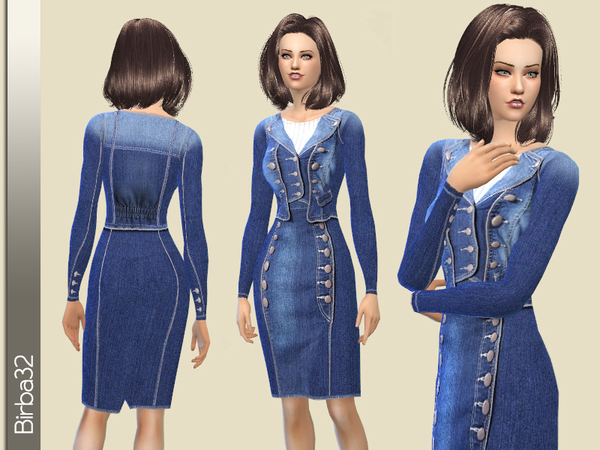 The Sims Resource: Denim jacket and skirt by Birba32