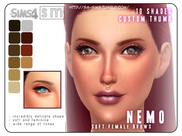 The Sims Resource: Soft Female Brows by Screaming Mustard
