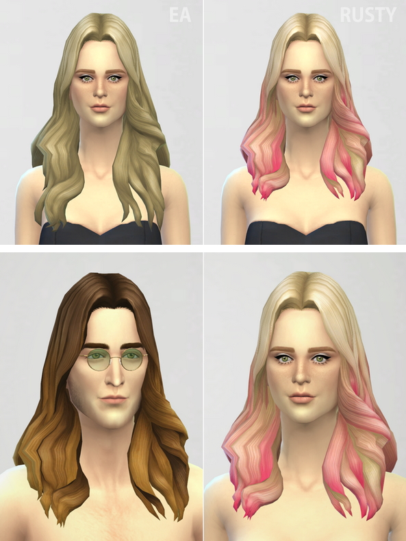 Rusty Nail Long Wavy Parted 1 Ombre Edit Sims 4 Downloads