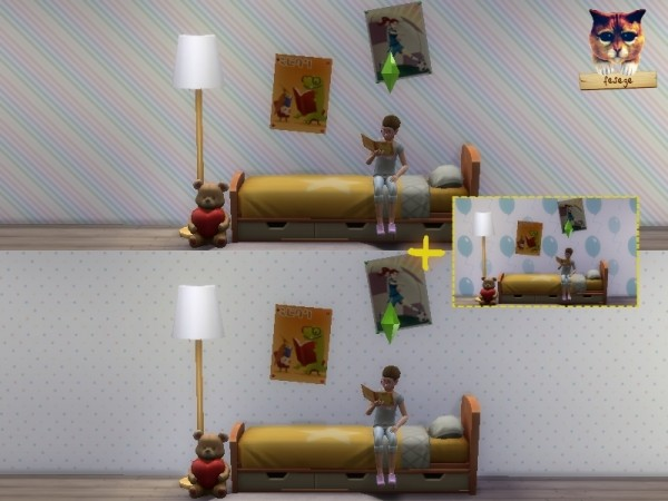 The Sims Resource: Kids Room Wallpaper Set pastel colors by Fesege