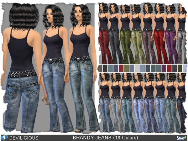 The Sims Resource: Brandy Jeans (18 Colors) by Devilicous