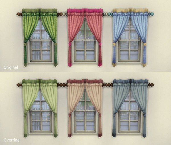 """Mod The Sims: One Tile """"Caress"""" Curtain + Overrides by plasticbox"""