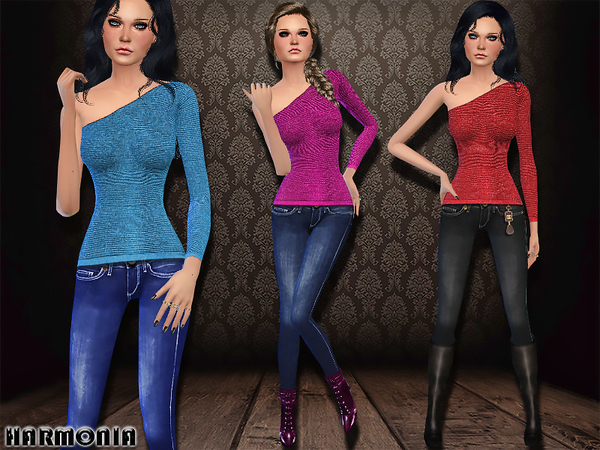 The Sims Resource: One shoulder Top / Skinny Jeans by Harmonia