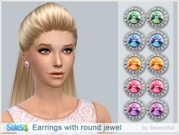 Sims by Severinka: Earrings with round jewel