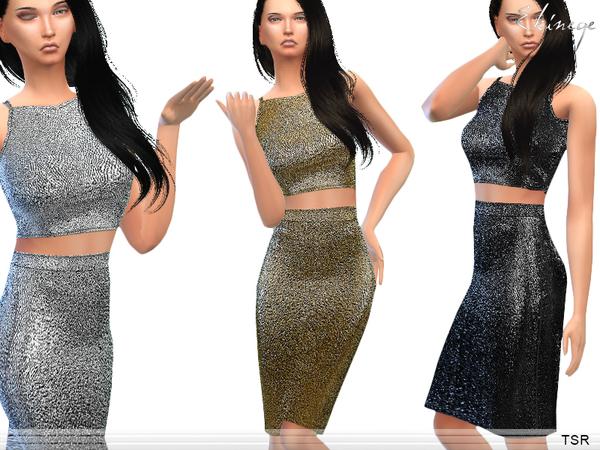 The Sims Resource: Metallic Two Piec eMidi Dress by Ekinege