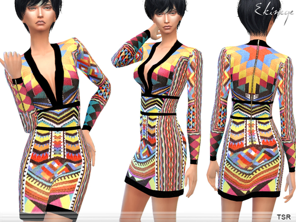 The Sims Resource: Tribal Patterned Dress by Ekinege
