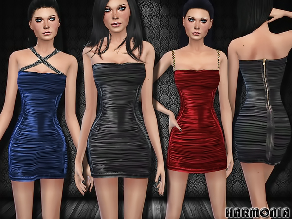 The Sims Resource: Party Ready Leather Dress by Harmonia