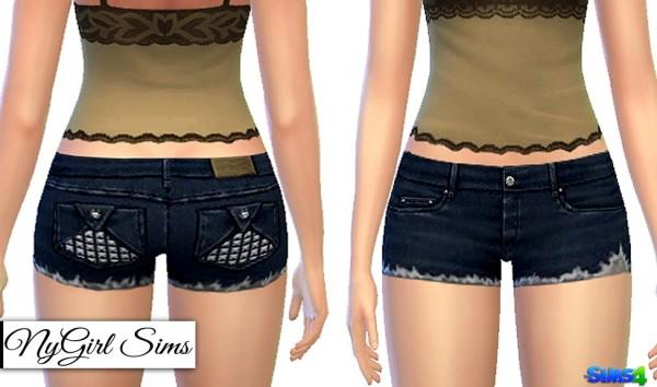 NY Girl Sims: Studded Pocket Fray Shorts