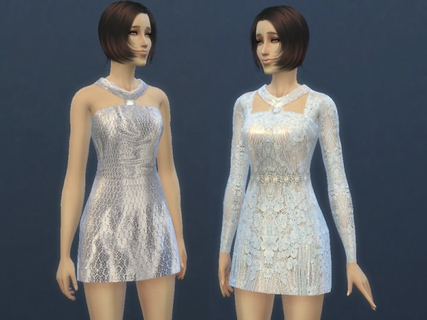 The Sims Resource: White Mini Dress by TatyanaName