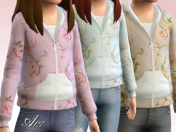 The Sims Resource: Flowers sweatshirt girl by Altea127