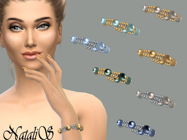 The Sims Resource: Spike and pearl bracelet by NataliS