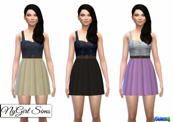 NY Girl Sims: Floral Belted Denim Tank Dress