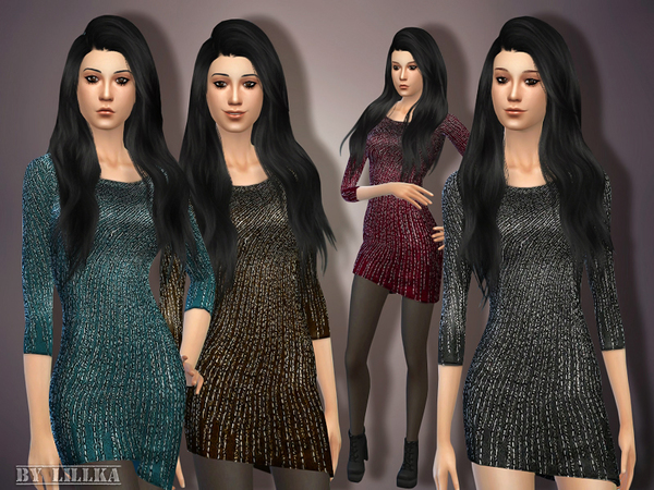 The Sims Resource: Sequin Beaded Dress by Lillka