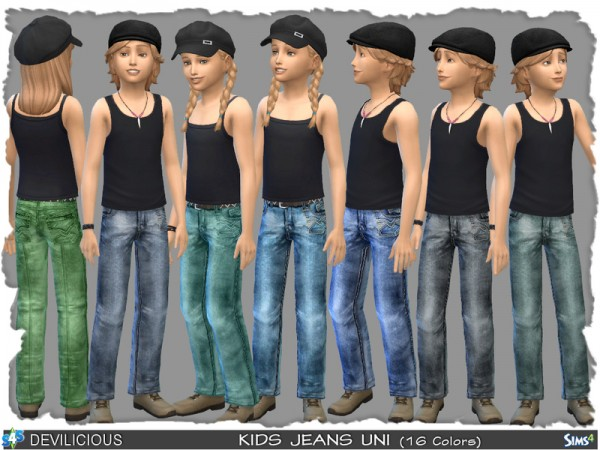 The Sims Resource: Kids Uni Jeans 16 color by Devilicious