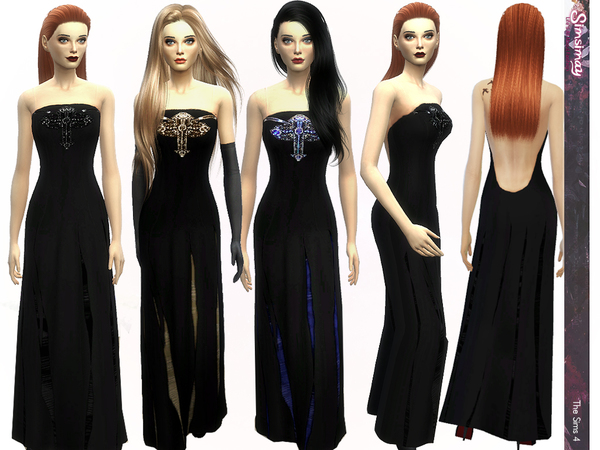 The Sims Resource: Eclipse Beaded Gown by Simsimay