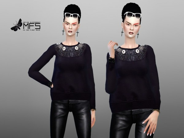 MissFortune Sims: Fringed Sweater