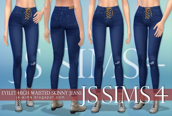 Js Sims 4 Eyelet High Waisted Skinny Jeans Sims 4 Downloads