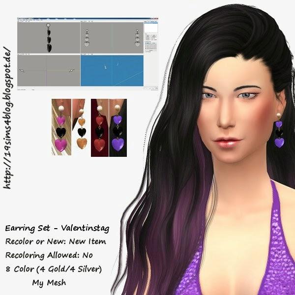 19 Sims 4 Blog: Valentine earrings