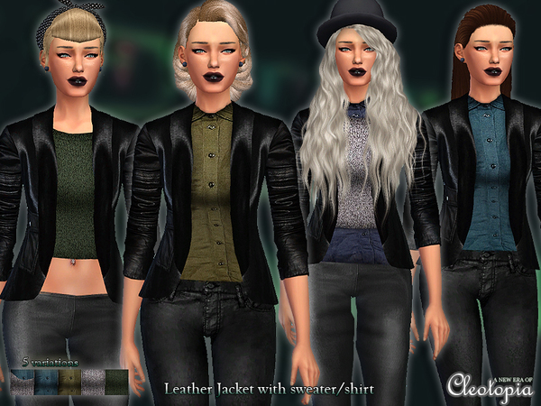 The Sims Resource: Set27  Cropped Leather Jacket with sweater/shirt by Cleotopia