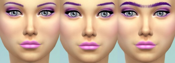 Mod The Sims: Recoloured Purple and Eyebrow Set by wendy35pearly