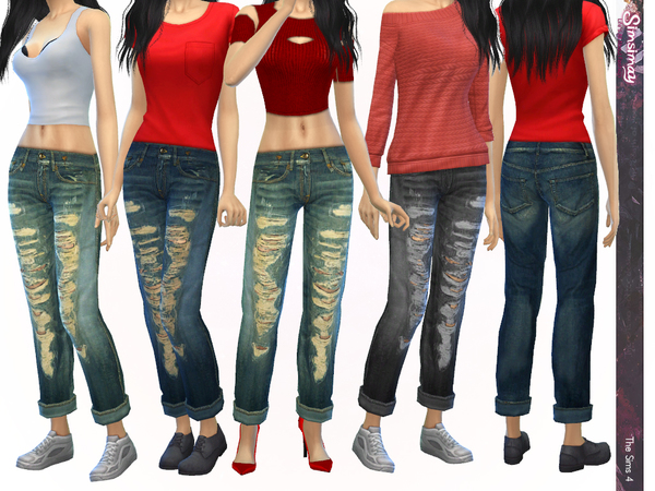 The Sims Resource: Casual Tomboy Boyfriend Jeans by Simisimay