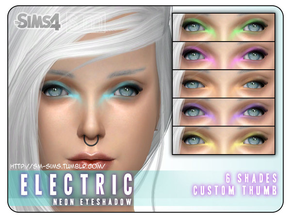 The Sims Resource: Electric    Neon Eyeshadow by Screaming Mustard