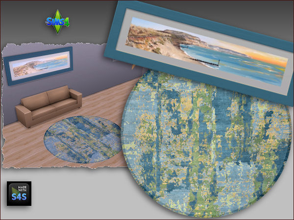 Arte Della Vita: Round rug and painting in 4 different sets