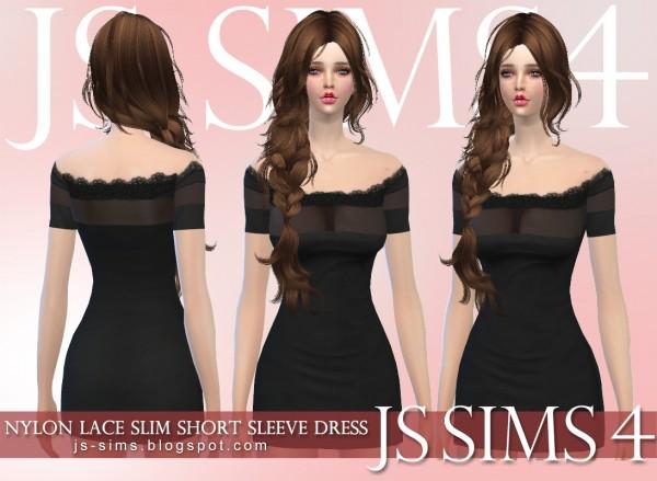 Js Sims 4 Nylon Lace Slim Short Sleeve Dress Sims 4