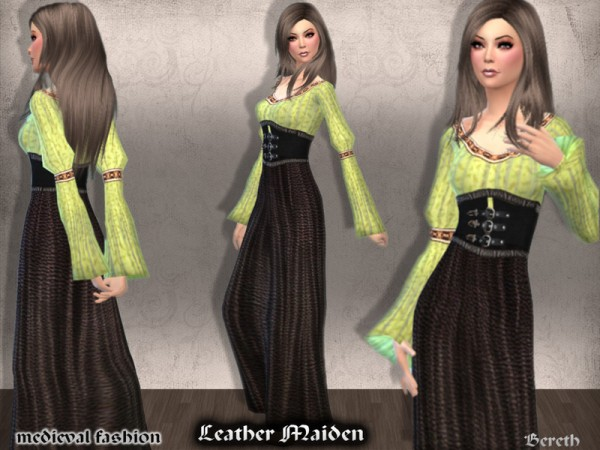 The Sims Resource: Medieval Dress Leather Maiden by Bereth