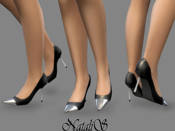The Sims Resource: Metal toe pumps by NataliS