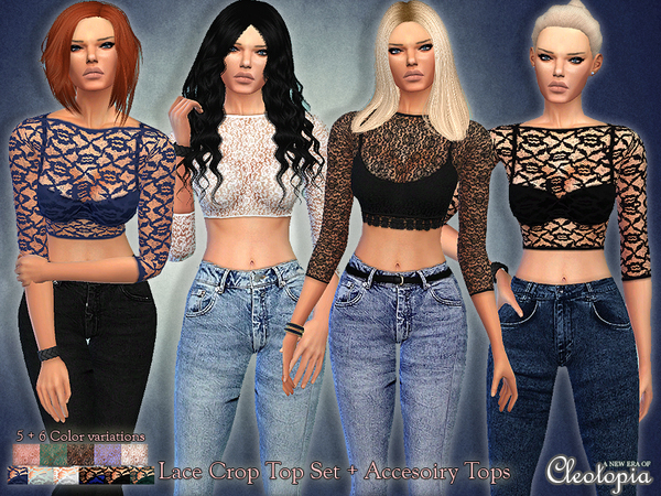 The Sims Resource: Set32  Lace Top Set by Cleotopia