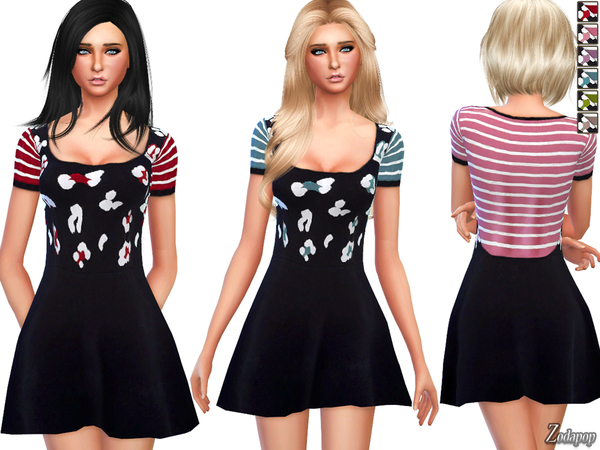 The Sims Resource: Stripe Print Knitted Dress by Zodapop