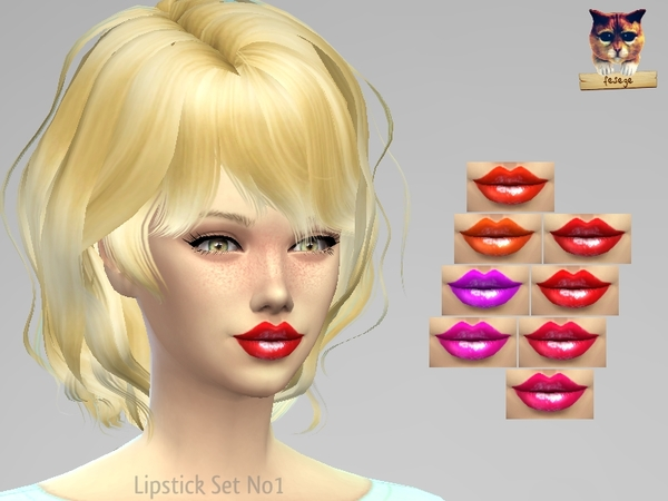 The Sims Resource: Lipstick Set No1 by Fesege