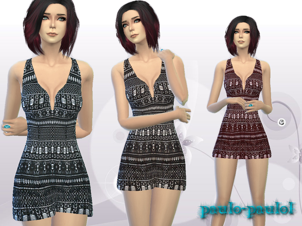 The Sims Resource: Short Sleeveless Lace Dress by Paulo Paulol