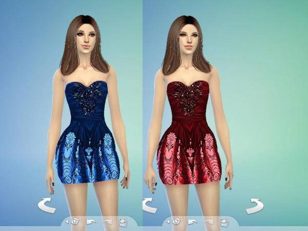 The Sims Resource: Black Bubble Dress by TatyanaName