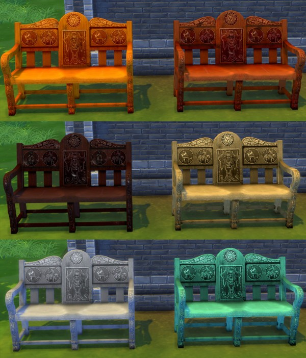 Mod The Sims: Medieval Loveseat converted from TS2 to TS4 by Esmeralda
