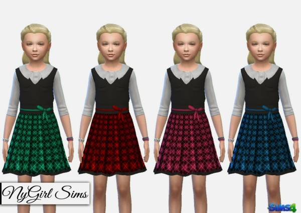 NY Girl Sims: Collared Tartan Dress with Vest