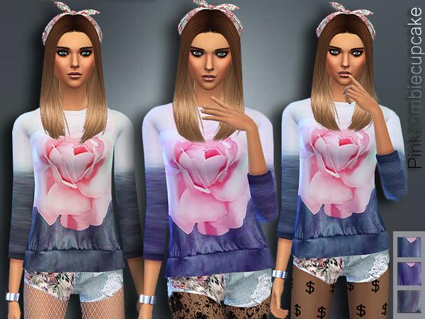 The Sims Resource: Miami Vibe Sweatshirt by Pinkzombiecupcake