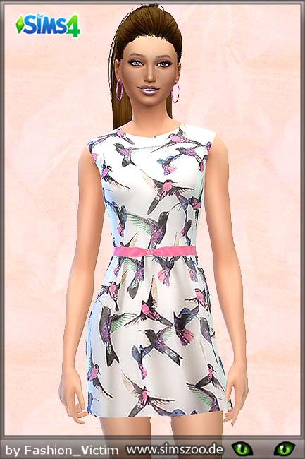 Blackys Sims 4 Zoo: Vogel print dress by Fashion Victim