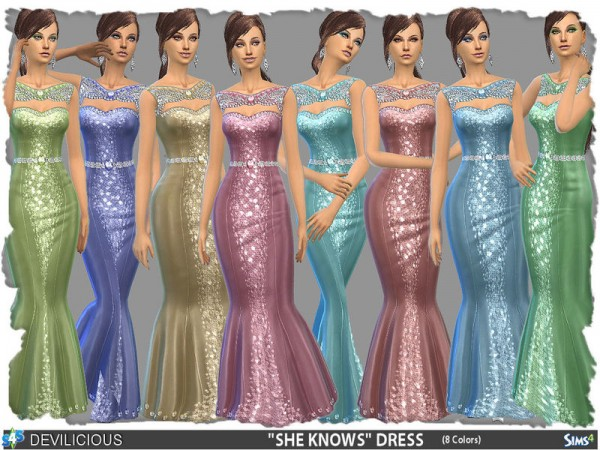 The Sims Resource: She knows Dress (8 Colors) by Devilicious