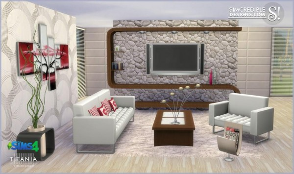 Simcredible designs titania livingroom set sims 4 downloads for Sims 4 living room ideas